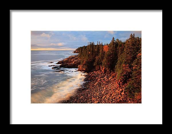Acadia Framed Print featuring the photograph Usa, Maine, Acadia National Park, Ocean by Joanne Wells