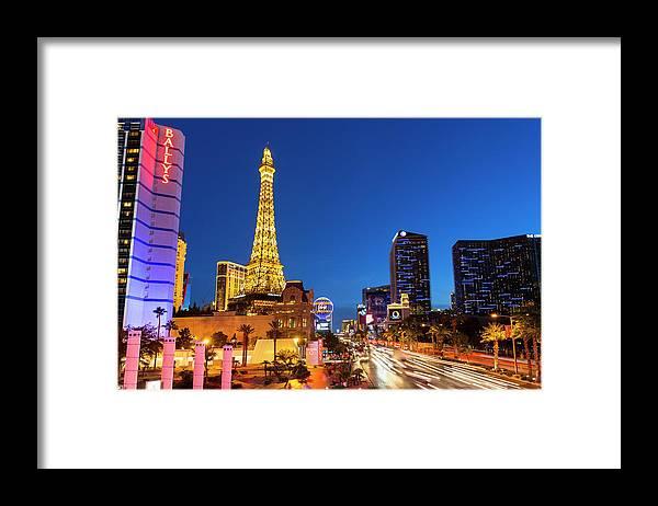 Las Vegas Replica Eiffel Tower Framed Print featuring the photograph Usa, Nevada, Las Vegas, Paris Las Vegas by Sylvain Sonnet