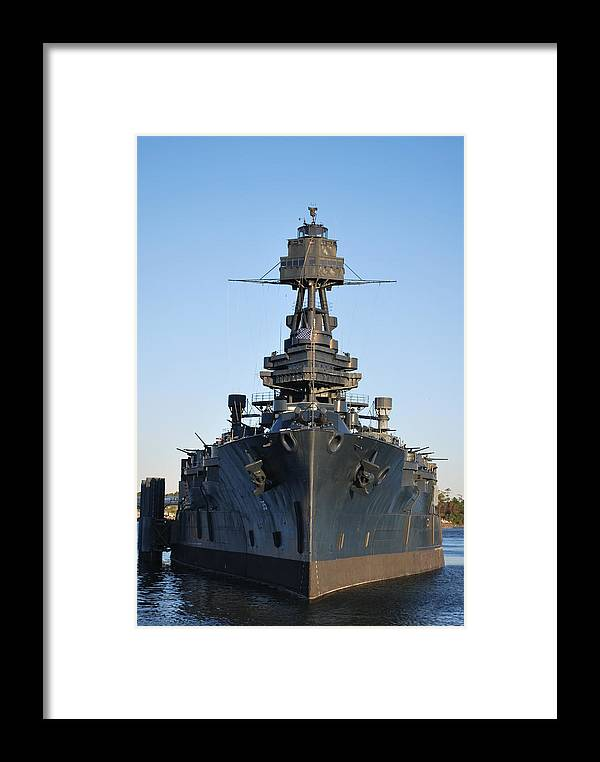 Texas Framed Print featuring the photograph Uss Texas Bow by Richard Booth