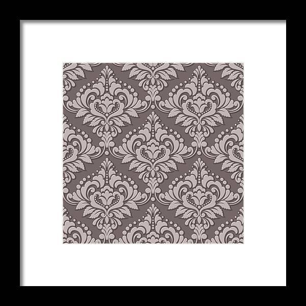 Vector Volumetric Damask Seamless Pattern Background Elegant Luxury