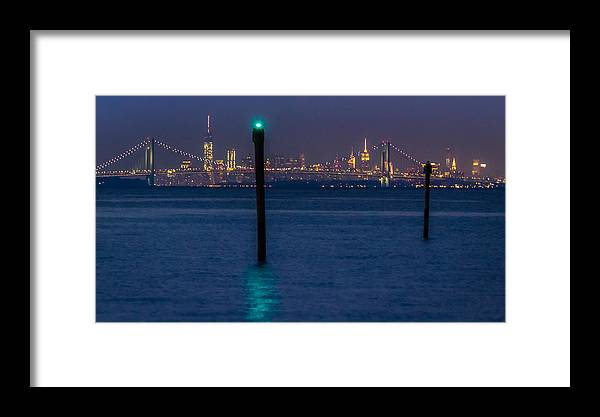 Bayshore Waterfront Framed Print featuring the photograph Verrazano-narrows Bridge And Nyc Skyline From Port Monmouth by Saurav Pandey