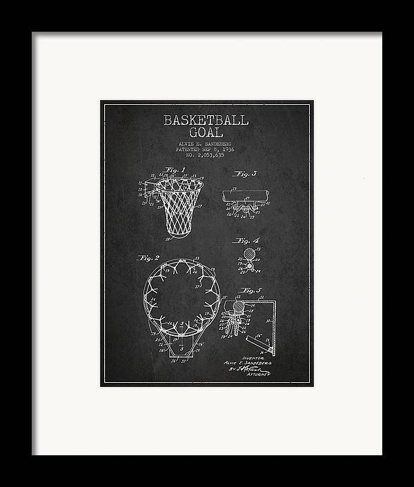 Hoop Patent Framed Print featuring the digital art Vintage Basketball Goal Patent From 1936 by Aged Pixel