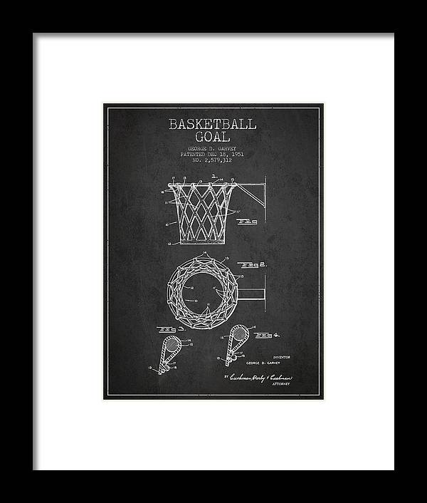 Hoop Patent Framed Print featuring the digital art Vintage Basketball Goal Patent From 1951 2 by Aged Pixel