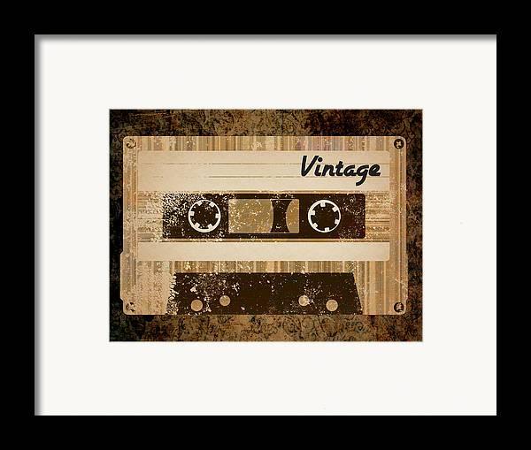 Vintage Framed Print featuring the digital art Vintage Cassette by Sara Ponte