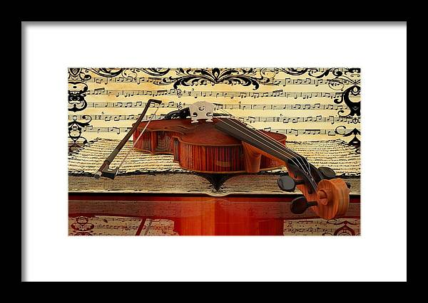 Violin Picture Framed Print featuring the digital art Violin by Louis Ferreira