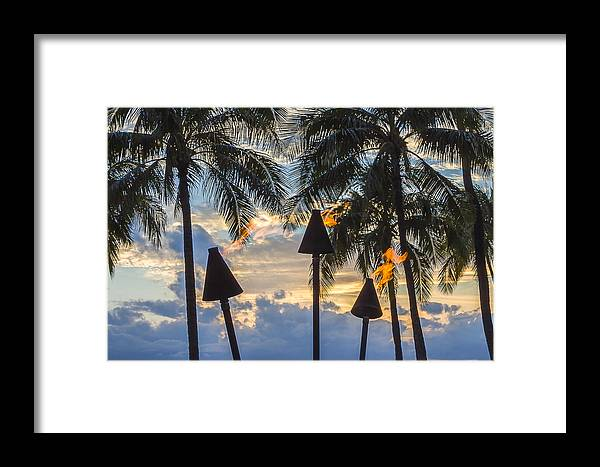 Beach Framed Print featuring the photograph Waikiki Sunset Torches by Leigh Anne Meeks