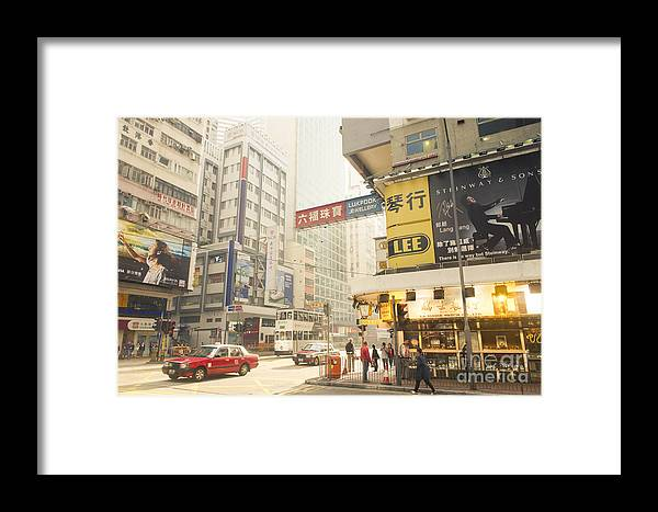 Wanchai Framed Print featuring the photograph wanchai street in Hong Kong by Tuimages