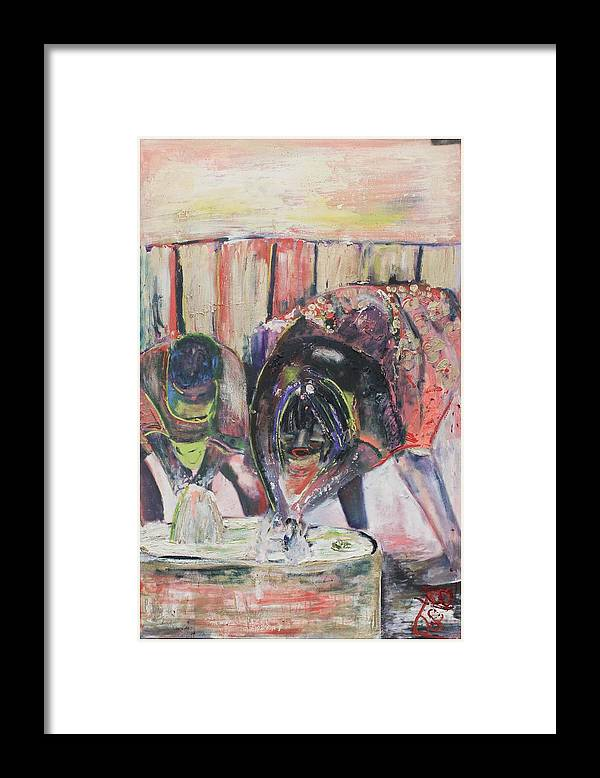 Figurative Framed Print featuring the painting Washer Woman by Peggy Blood