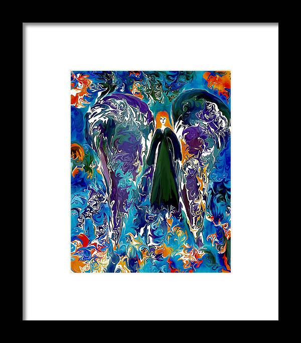 Angel Framed Print featuring the digital art Water Angel by Paula Majeski