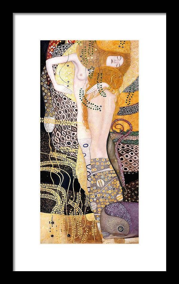 Gustav Klimt Framed Print featuring the painting Water Serpents I by Gustav Klimt