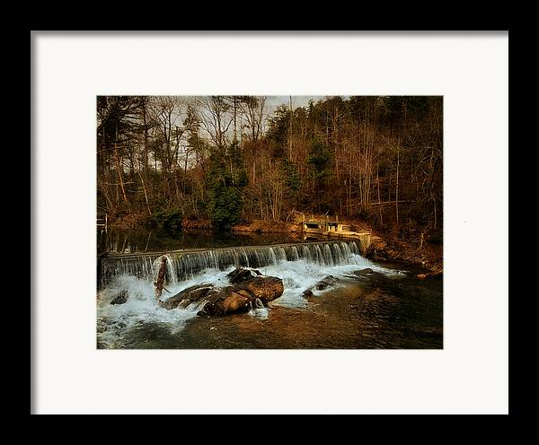 Black And White Framed Print featuring the photograph Waterfall by Mario Celzner