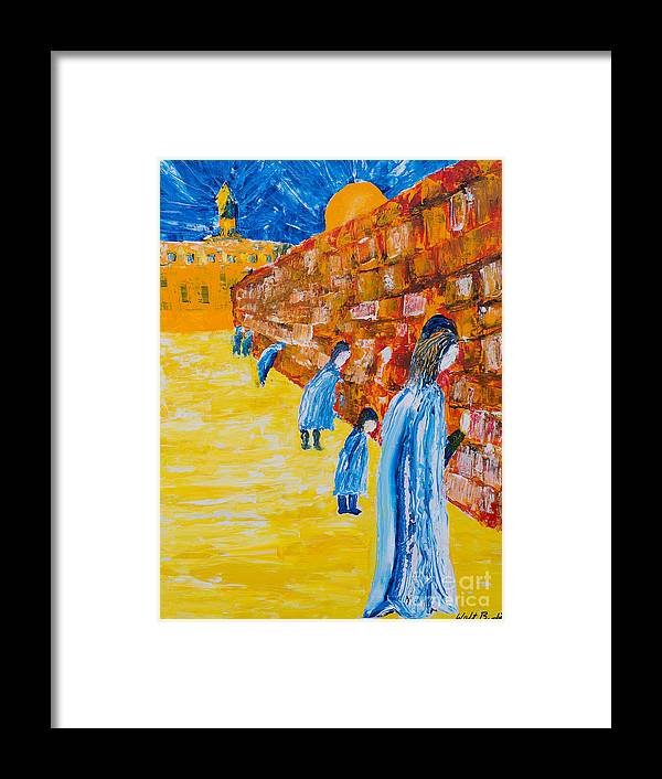 Western Wall Framed Print featuring the painting Western Wall by Walt Brodis