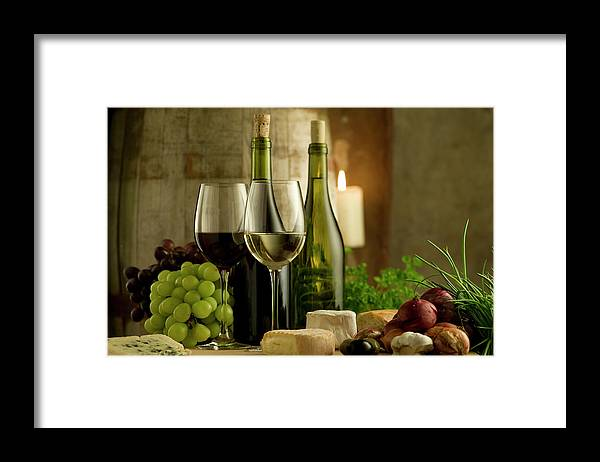 Cheese Framed Print featuring the photograph White And Red Wine In A French Style by Kontrast-fotodesign