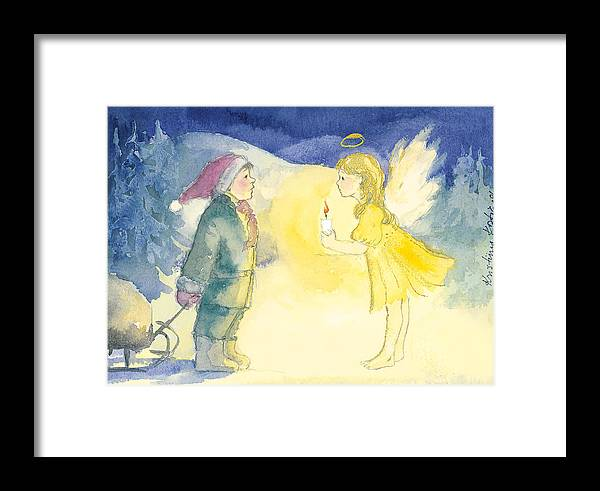 Christmas Framed Print featuring the painting Who Are You? by Kristiina Kostia