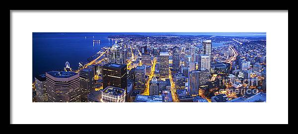 Seattle Framed Print featuring the photograph Wide Seattle Cityscape by Mike Reid