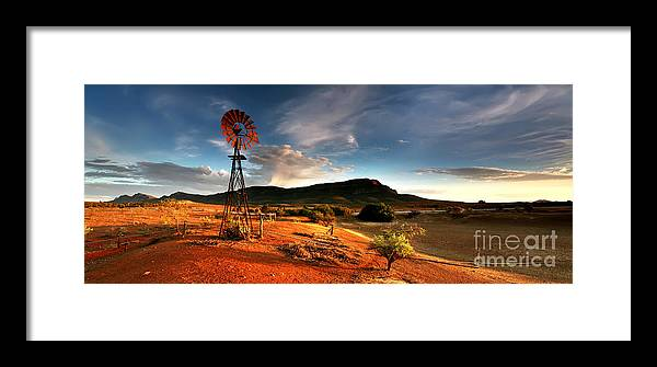 Wilpena Pound Windmill Rawnsley Bluff Flinders Ranges South Australia Australian Landscape Landscapes Early Morning Dam Drought Outback Framed Print featuring the photograph Wilpena Pound by Bill Robinson