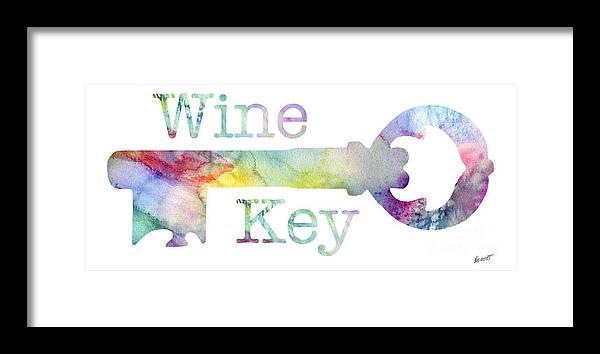 Wine Framed Print featuring the mixed media Wine Key Watercolor by Jon Neidert