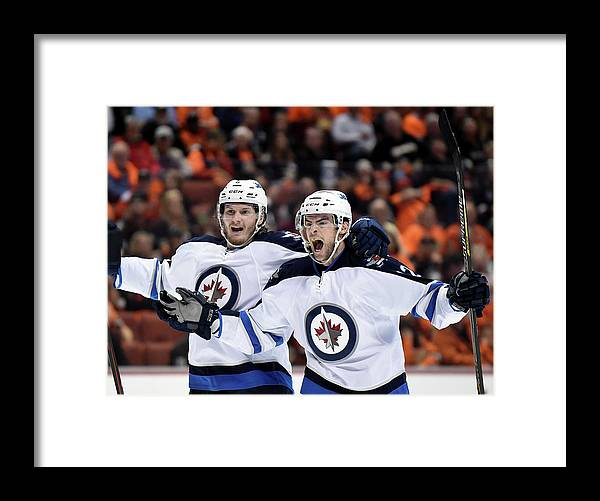 Drew Stafford Framed Print featuring the photograph Winnipeg Jets V Anaheim Ducks - Game One by Harry How