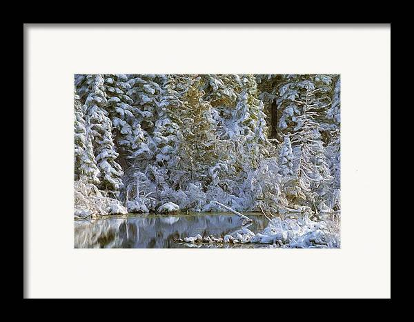 Winter Landscape Image Of Snow Covered Trees Reflecting In A Creek Framed Print featuring the photograph Winter Scene by Pat Now