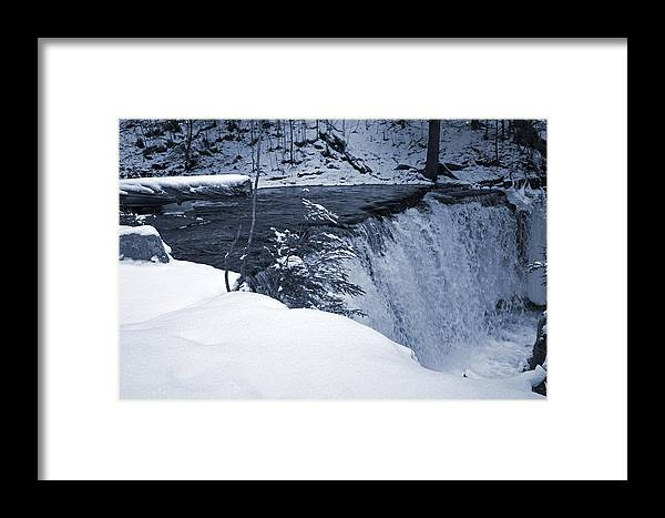Waterfall Framed Print featuring the photograph Winter Waterfall Snow by John Stephens