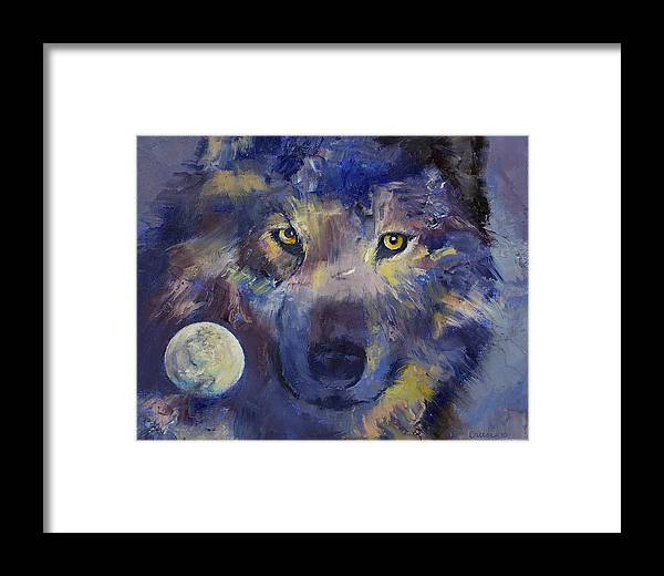 Wolf Framed Print featuring the painting Grey Wolf Moon by Michael Creese