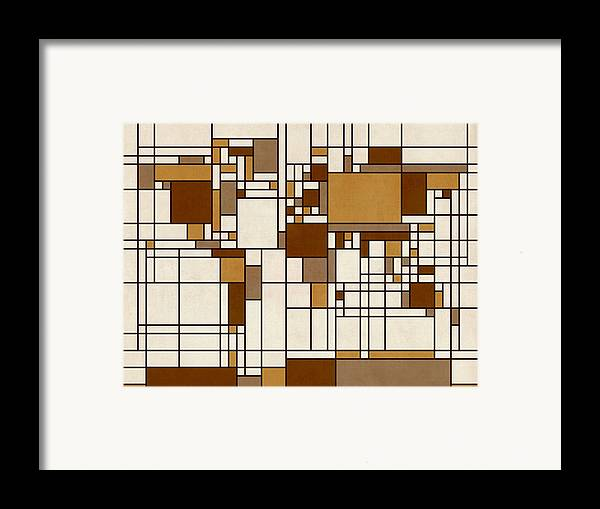 Cartography Framed Print featuring the digital art World Map Abstract Mondrian Style by Michael Tompsett