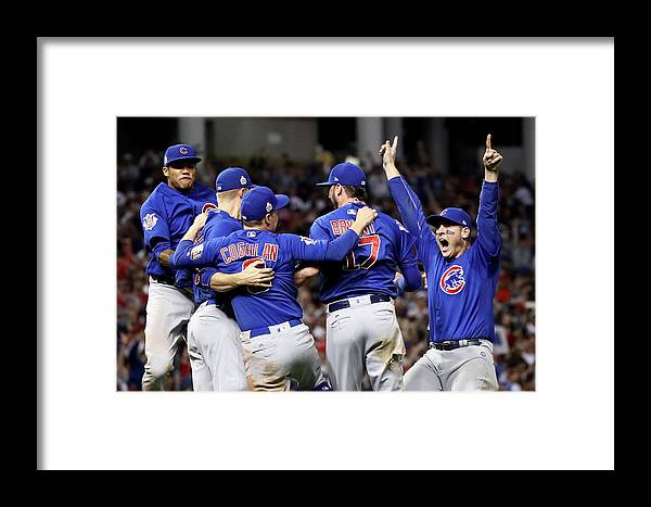 Three Quarter Length Framed Print featuring the photograph World Series - Chicago Cubs V Cleveland 1 by Ezra Shaw