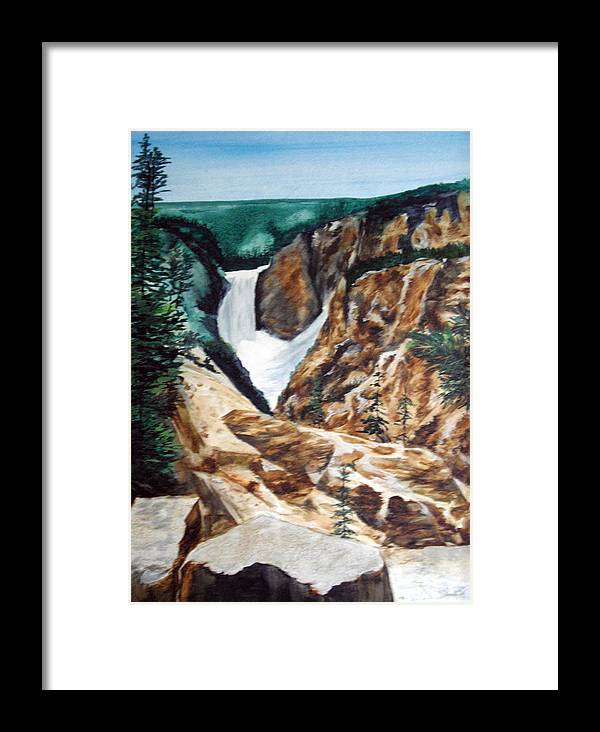 Yellowstone Framed Print featuring the painting Yellowstone by Ellen Canfield