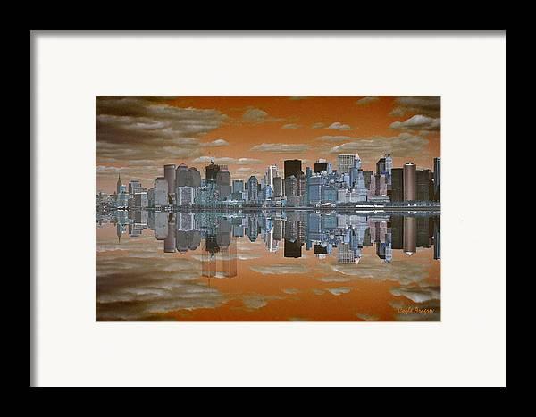 Manhattan Framed Print featuring the digital art Yesterday Reflexions by Coqle Aragrev