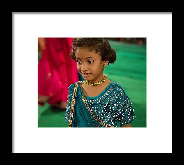 5d Mark Iii Framed Print featuring the photograph Young Dancer At The Navratri Festival by John Hoey