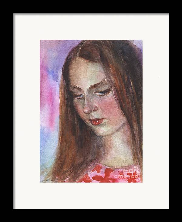 Girl 3 Framed Print featuring the painting Young Woman Watercolor Portrait Painting by Svetlana Novikova