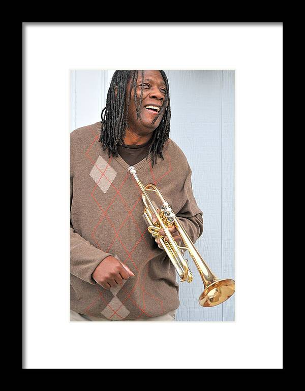 African American Framed Print featuring the photograph Jazz Musician. by Oscar Williams