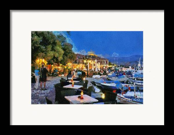 Lesvos; Lesbos; Molyvos; Molivos; Mithymna; Methymna; Village; Town; Island; Port; Harbor; People; Tourists; Man; Woman; Castle; Fortress; Boat; Boats; Fishing; Islands; Greece; Hellas; Greek; Aegean; Summer; Holidays; Vacation; Tourism; Touristic; Travel; Trip; Voyage; Journey; Dusk; Twilight; Night; Tables; Chairs; Bar; Pub; Inn; Blue Sky; Paint; Painting; Paintings Framed Print featuring the painting Molyvos Town In Lesvos Island by George Atsametakis