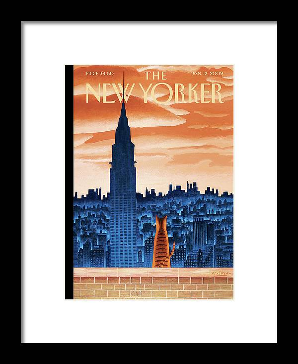 Nyc Framed Print featuring the painting New Yorker January 12th, 2009 by Mark Ulriksen