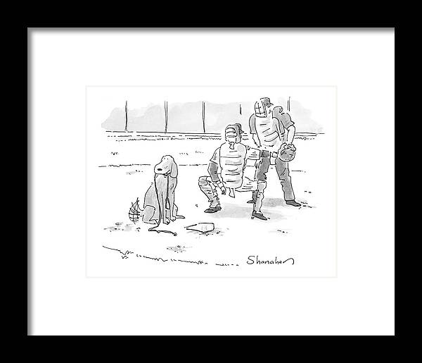 Sports Pets Dogs Baseball Homeplate Walk Framed Print featuring the drawing New Yorker October 10th, 2005 by Danny Shanahan