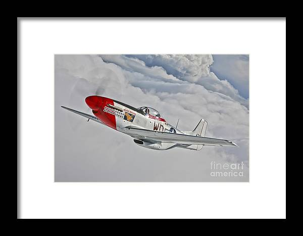 Horizontal Framed Print featuring the photograph A P-51d Mustang In Flight by Scott Germain