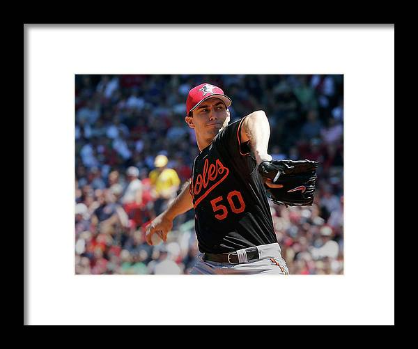 American League Baseball Framed Print featuring the photograph Baltimore Orioles V Boston Red Sox - by Jim Rogash