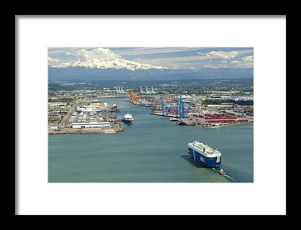 America Framed Print featuring the photograph Port Of Tacoma, Tacoma by Andrew Buchanan/SLP