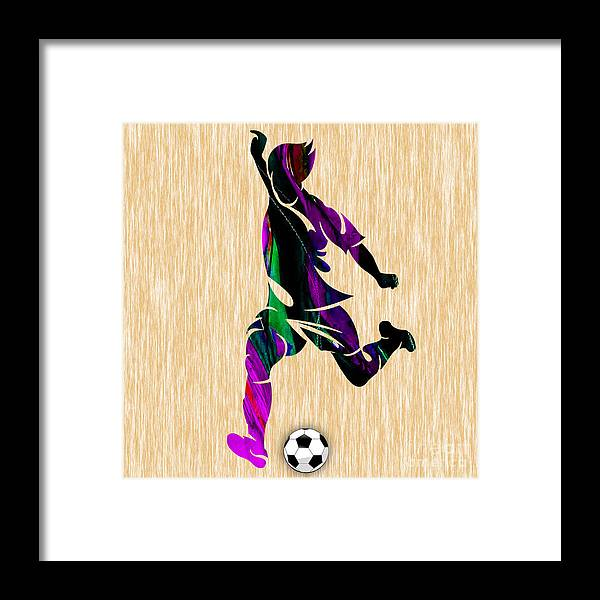 Soccer Framed Print featuring the mixed media Soccer by Marvin Blaine