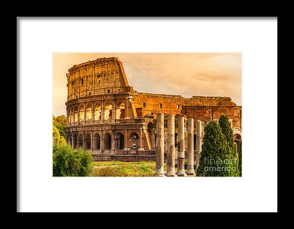Column Framed Print featuring the photograph The Majestic Coliseum - Rome by Luciano Mortula