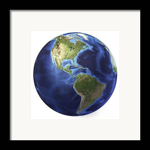 Relief Map Framed Print featuring the digital art 3d Rendering Of Planet Earth, Centered by Leonello Calvetti