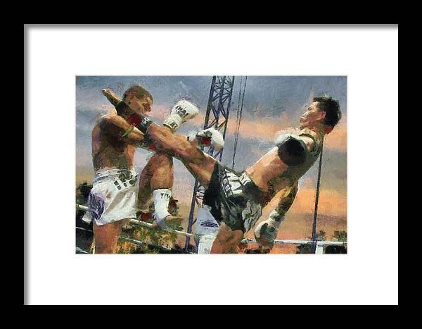 Muay Thai Framed Print featuring the digital art Muay Thai Arts Of Fighting by Rames Ratyantarakor