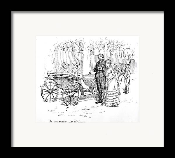 In Conversation With The Ladies; Illustration; Pride And Prejudice; Jane Austen; Edition; Illustrated; Mr;collins; Charlotte Lucas; Husband; Wife; Miss; De Bourgh; Mrs; Jenkinson; Phaeton; Lady Catherine De Bourgh; Elizabeth Bennet; Bennet's; Visit; Hunsford; Parsonage; Rosings; Pompous; Clergyman; Georgian; Regency; Costume; Carriage; Talking; De Bourgh's; Daughter Framed Print featuring the drawing Scene From Pride And Prejudice By Jane Austen by Hugh Thomson