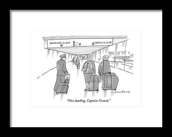 Airports Framed Print featuring the drawing Nice Landing by Michael Crawford