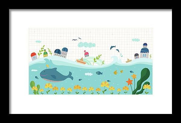 Seaweed Framed Print featuring the digital art View Of Town by Eastnine Inc.