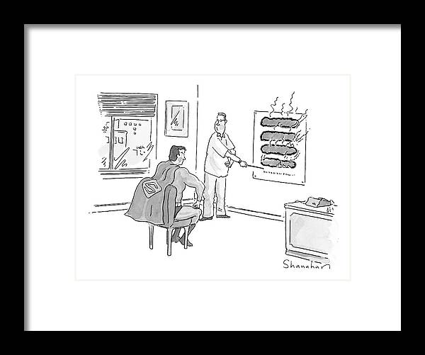 Superman Framed Print featuring the drawing New Yorker June 12th, 2000 by Danny Shanahan