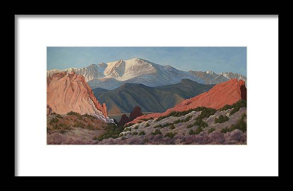 Pikes Peak Framed Print featuring the painting 120402-1836 Pikes Peak From The Garden Of The Gods by Kenneth Shanika