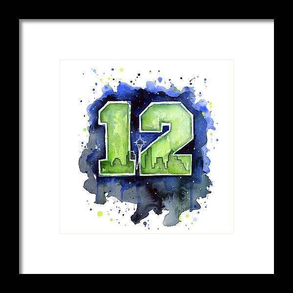 12th Man Seahawks Art Seattle Go Hawks Framed Print by Olga Shvartsur