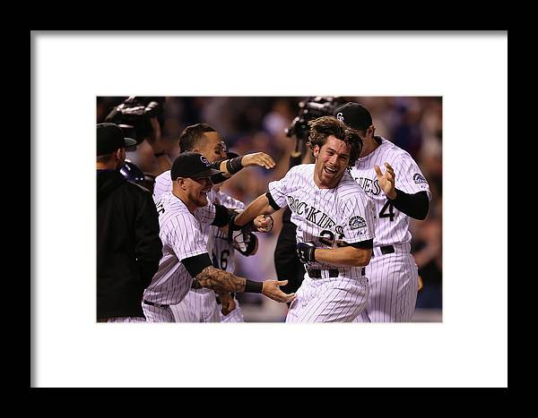 Celebration Framed Print featuring the photograph New York Mets V Colorado Rockies 13 by Doug Pensinger