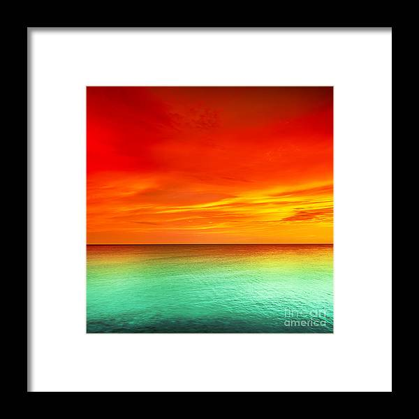 Red Framed Print featuring the photograph Sunset by MotHaiBaPhoto Prints
